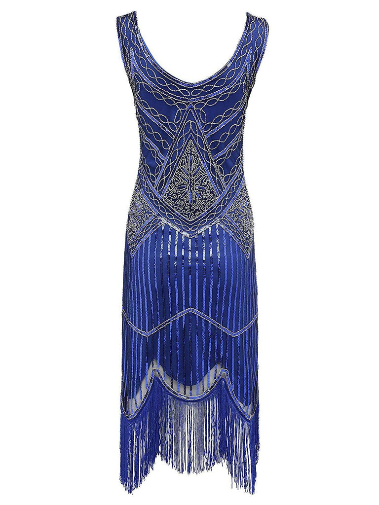 Blue 1920s Sequin Gatsby dress