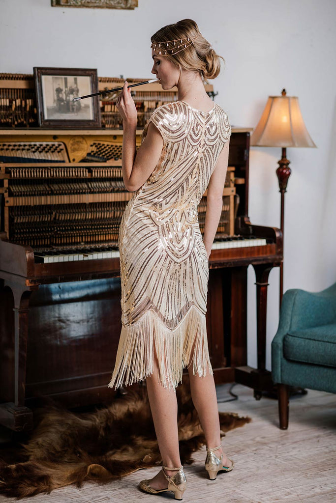 US Only Apricot 1920s Sequin Beaded Fringed Dress