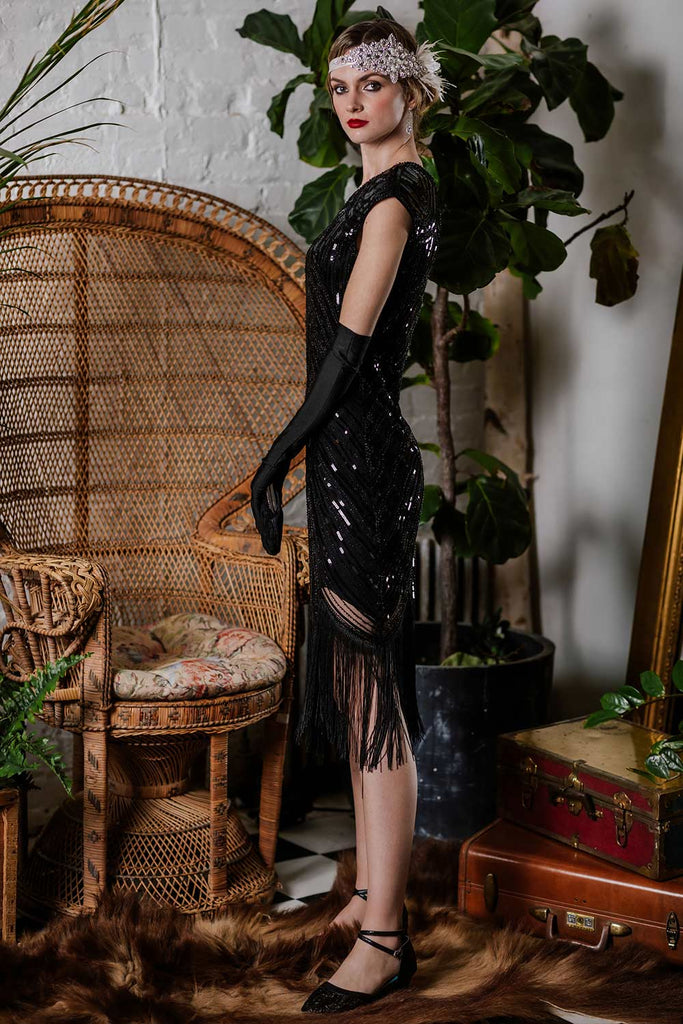 US Only Black 1920s Sequin Beaded Fringed Dress