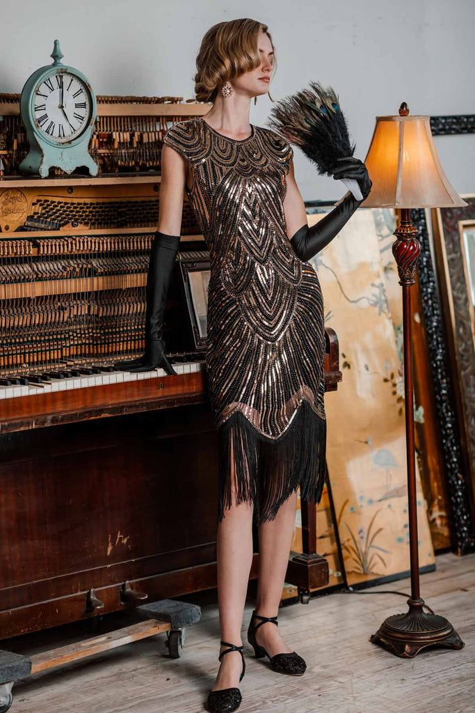 US Only Gold 1920s Sequin Beaded Fringed Dress