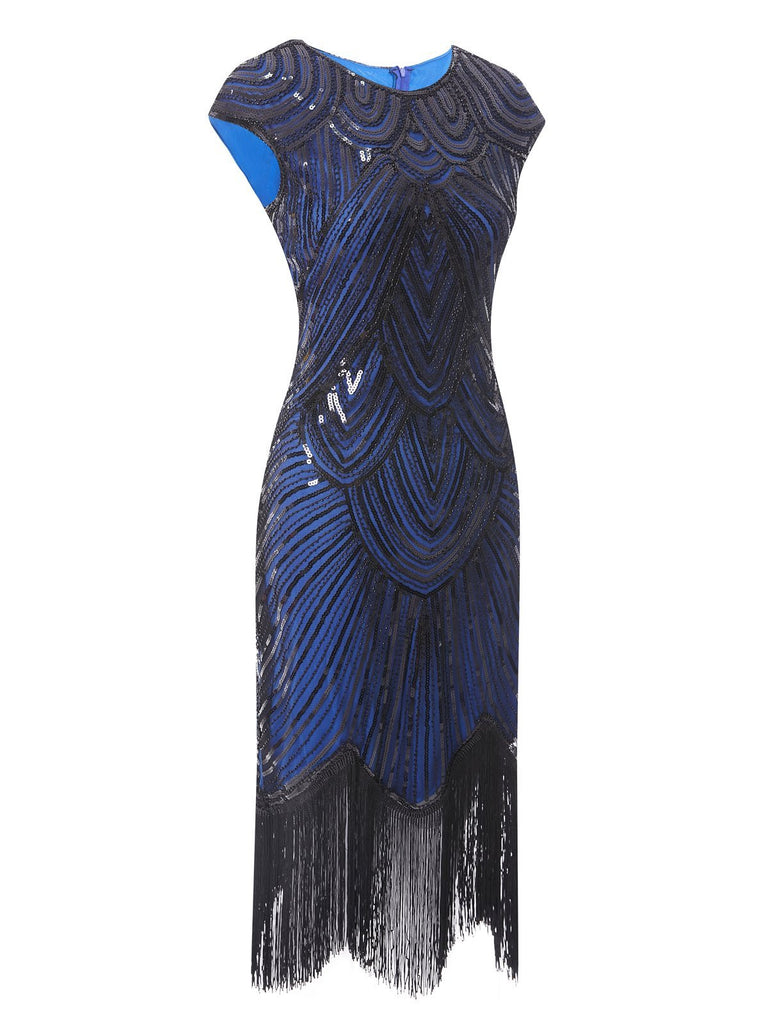 US Only Blue 1920s Sequin Beaded Fringed Dress
