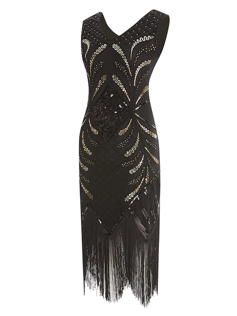 Black 1920s Sequin Fringed Gatsby Dress