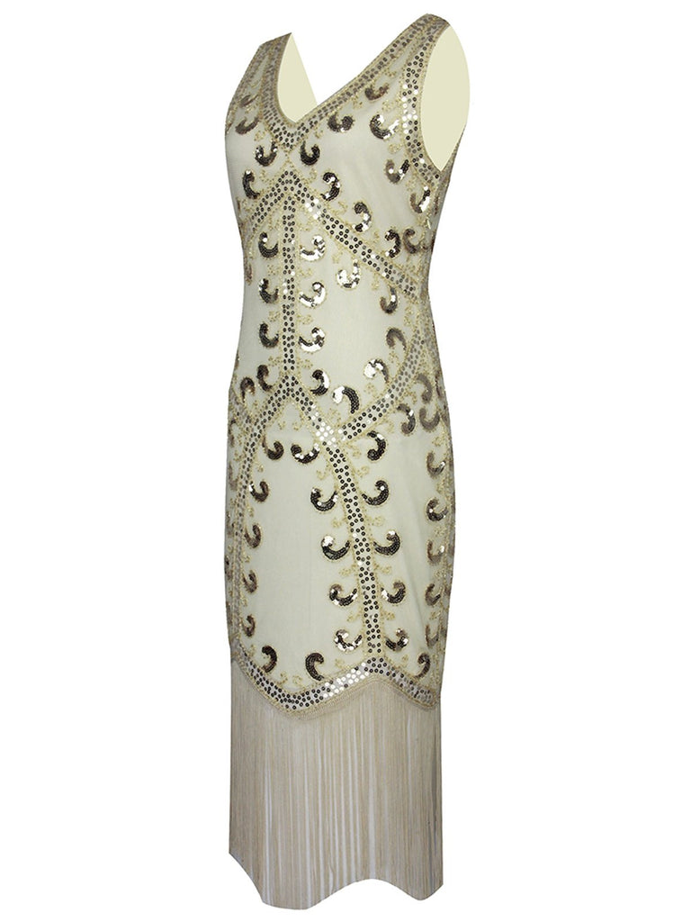 US Only 1920s Sequin Fringed Gatsby Dress