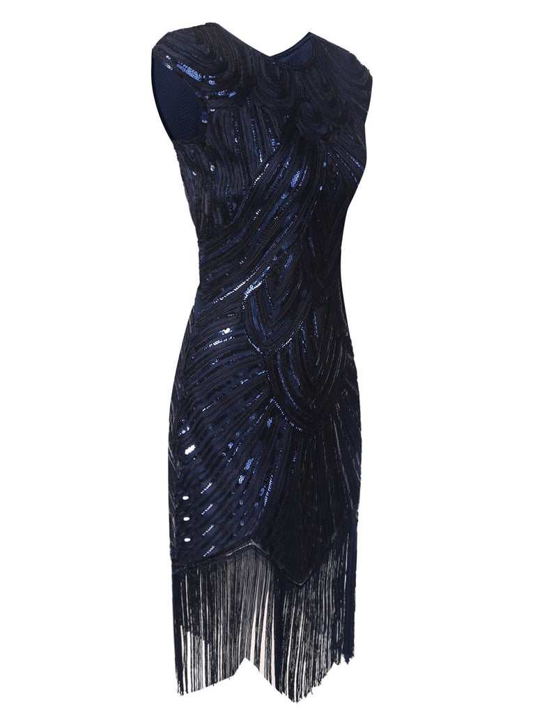 US Only Blue 1920s Tassel Gatsby Flapper Dress