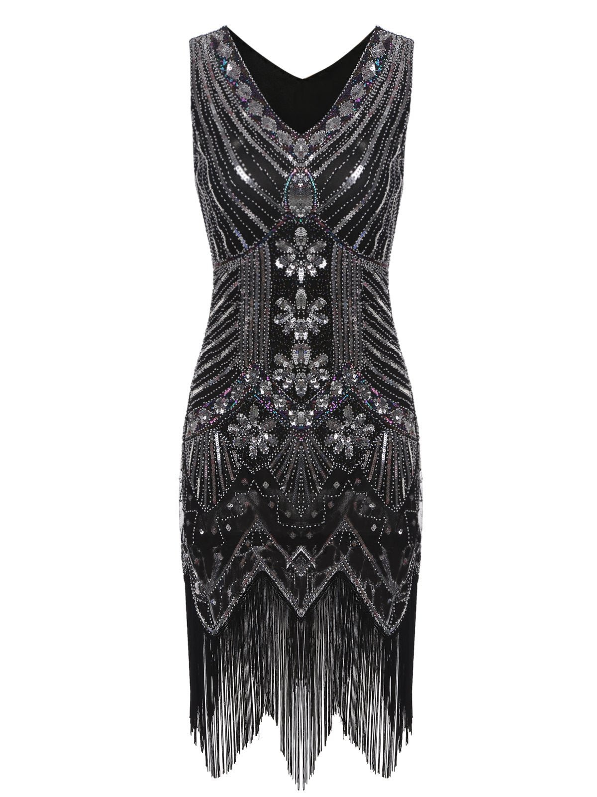 3401aec6657 1920s Sequined Fringe Dress – Retro Stage - Chic Vintage Dresses and ...