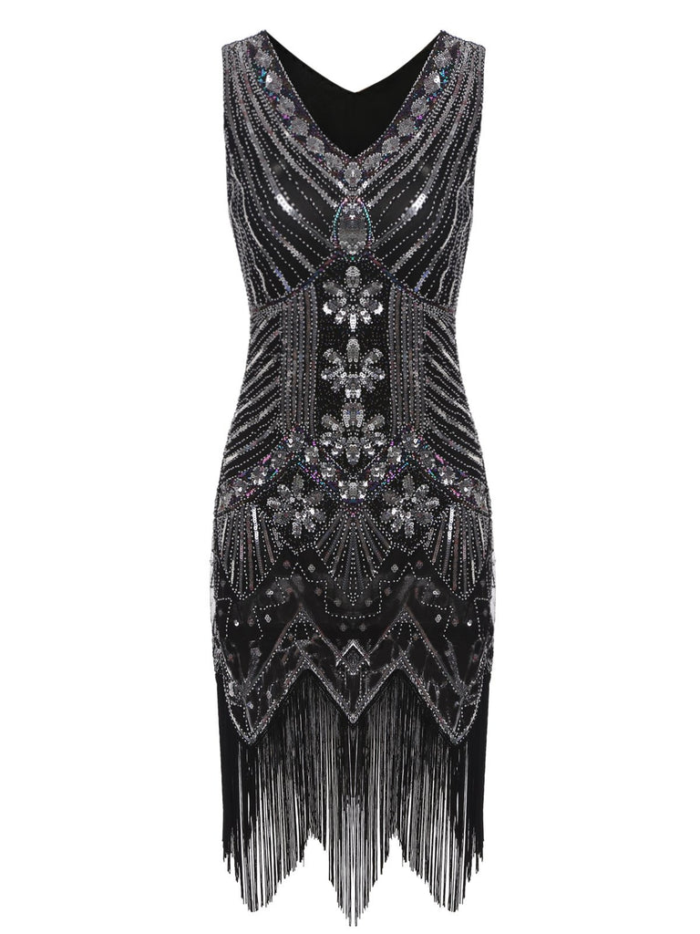 US Only 1920s Sequined Fringe Dress