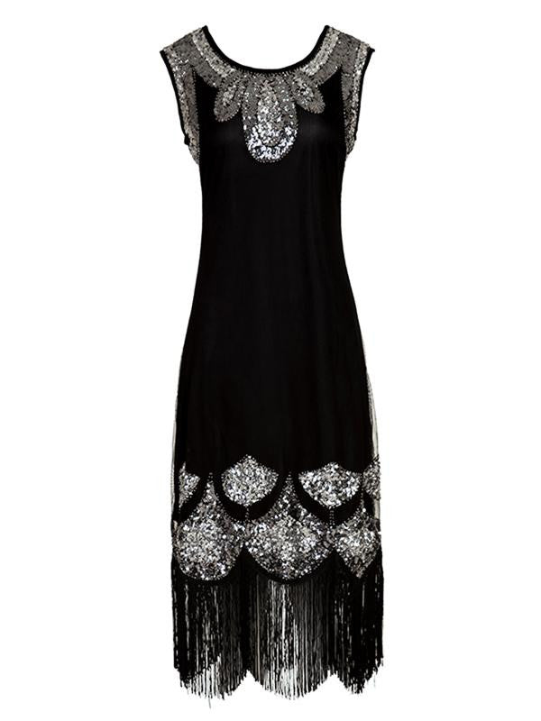 Black 1920s Sequin Flapper Dresses