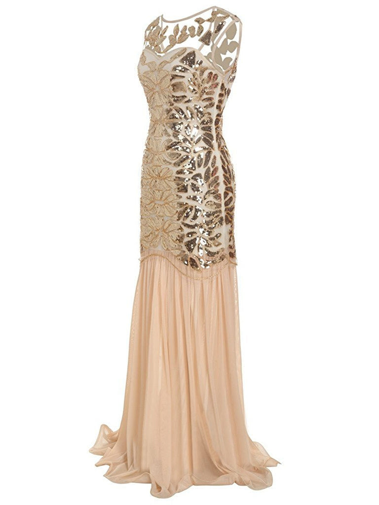 US Only Apricot 1920s Sequin Maxi Flapper Dress