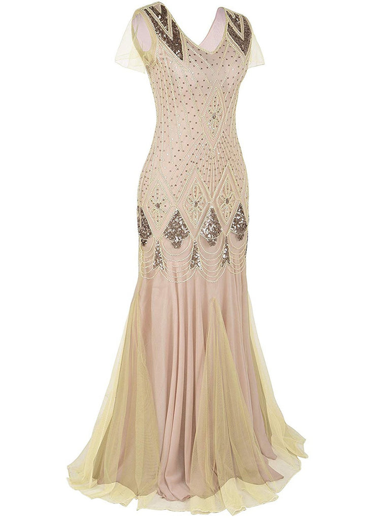 US Only Apricot Sequin Gatsby Maxi Dresses