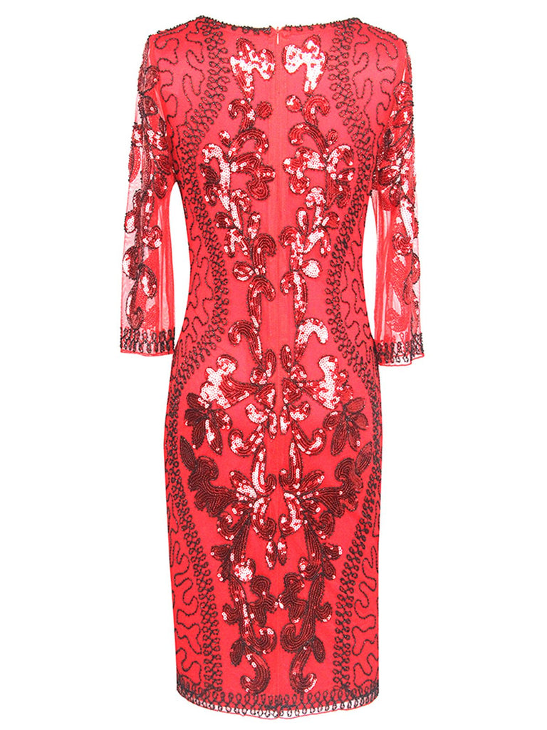 [US Warehouse] Red 1920s 3/4 Sleeve Sequin Gatsby Dress