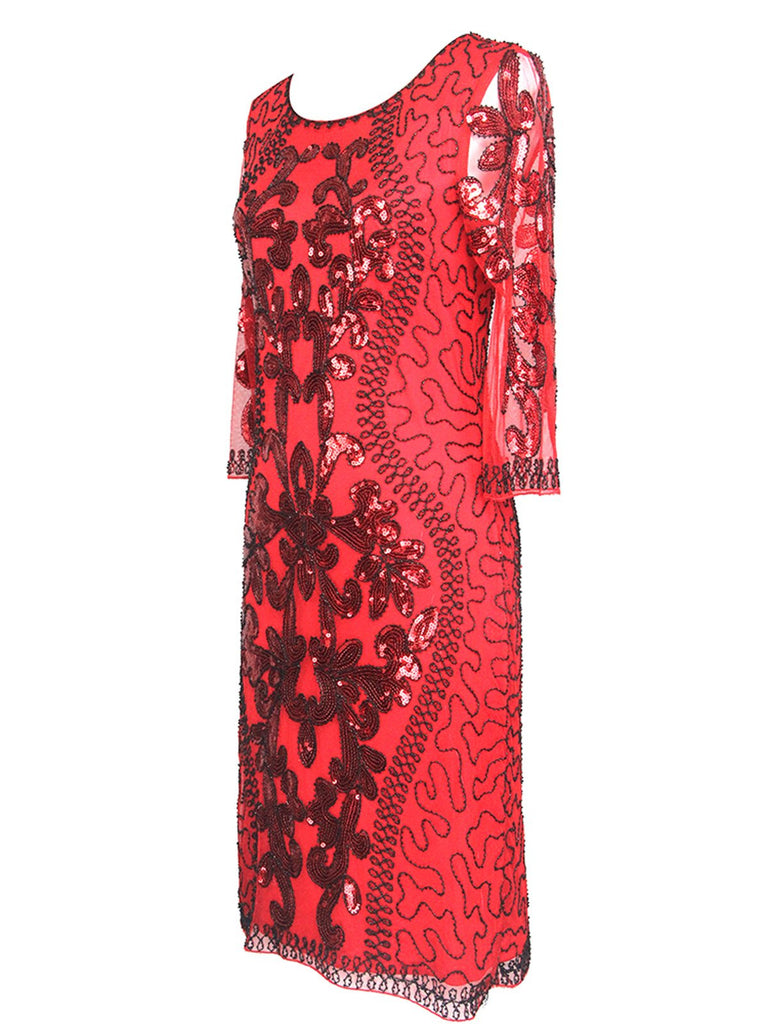 Red 1920s 3/4 Sleeve Sequin Gatsby Dress