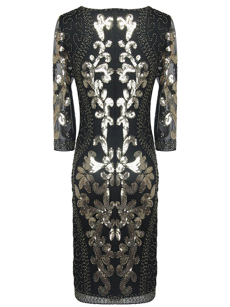US Only 1920s 3/4 Sleeve Mesh Sequin Gatsby Dress