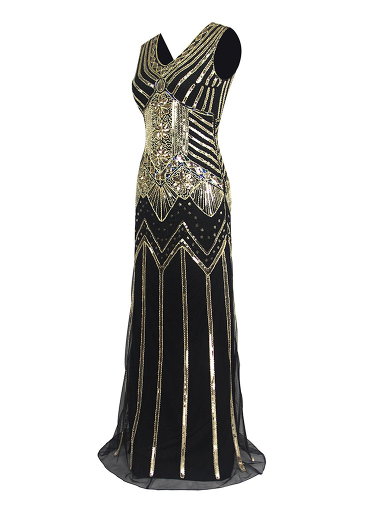 Black 1920s Retro Sequin Flapper Maxi Dresses