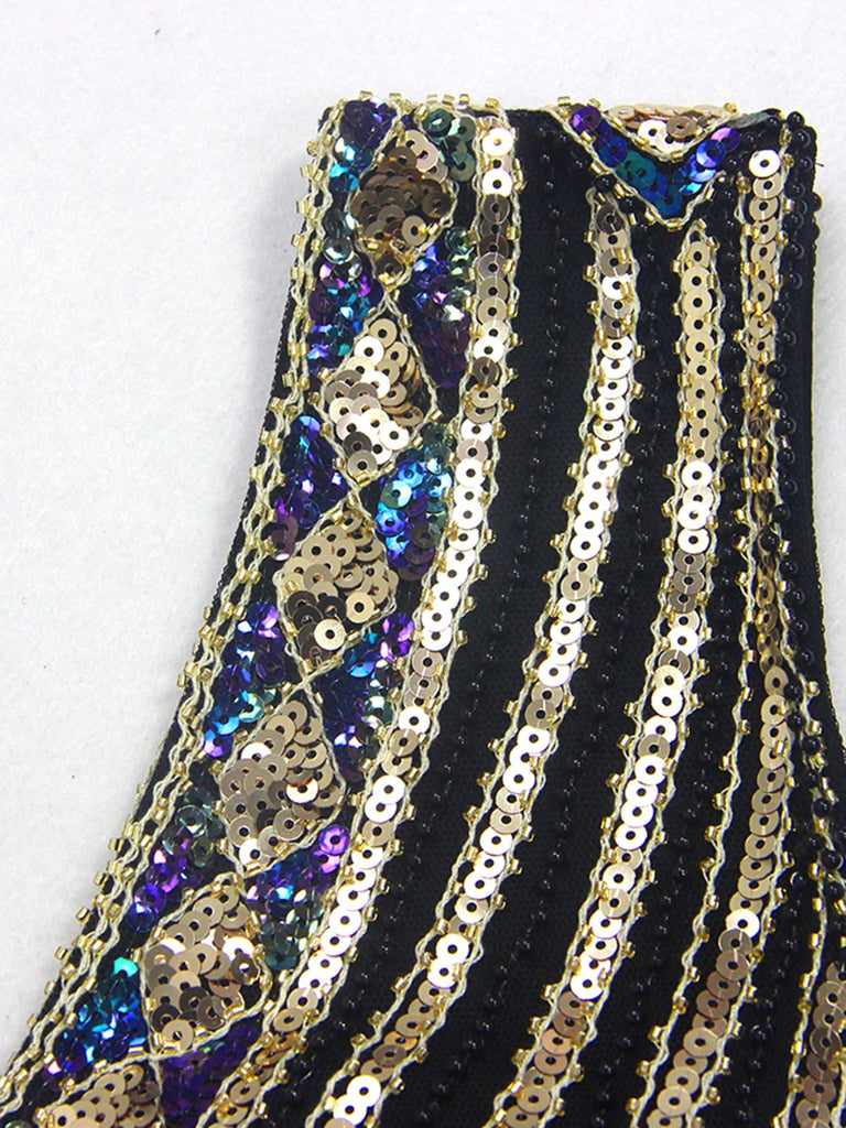 US Only Black 1920s Sequin Flapper Maxi Dress