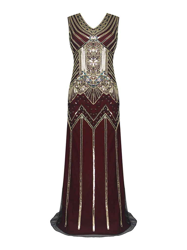 US Only Wine Red 1920s Sequin Flapper Maxi Dress