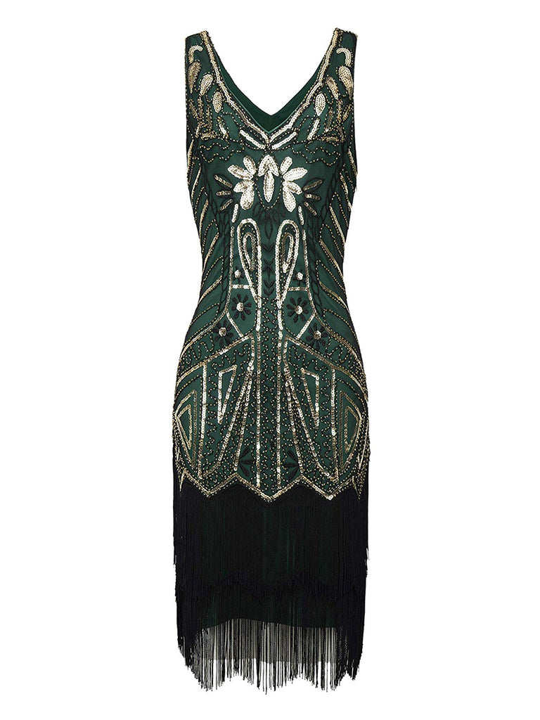 Green 1920s Retro Sequin Fringed Flapper Dress