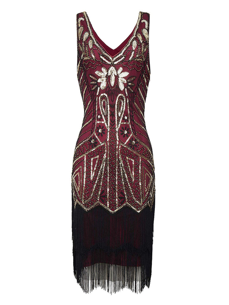 Wine Red 1920s Retro Sequin Fringed Flapper Dress