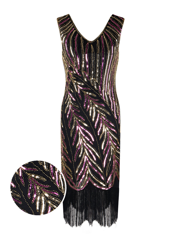 1920s Sequined Tassels Flapper Dress