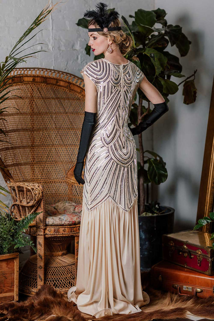 1920s Embroidery Sequin Maxi Dress