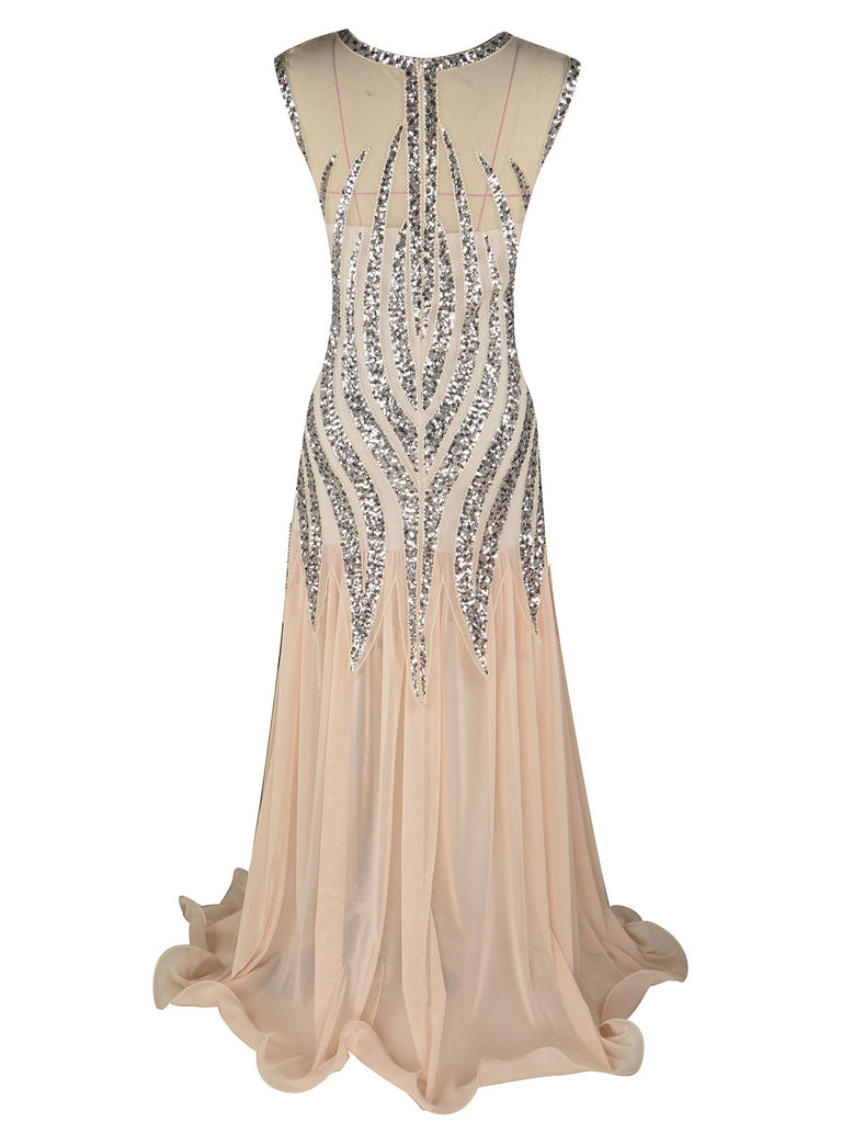 1920s Sequined Elegant Maxi Dress