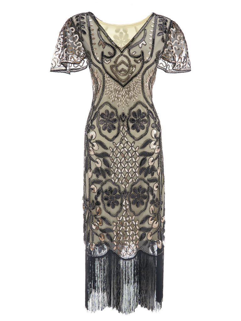1920s Floral Tassel Sequined Dress