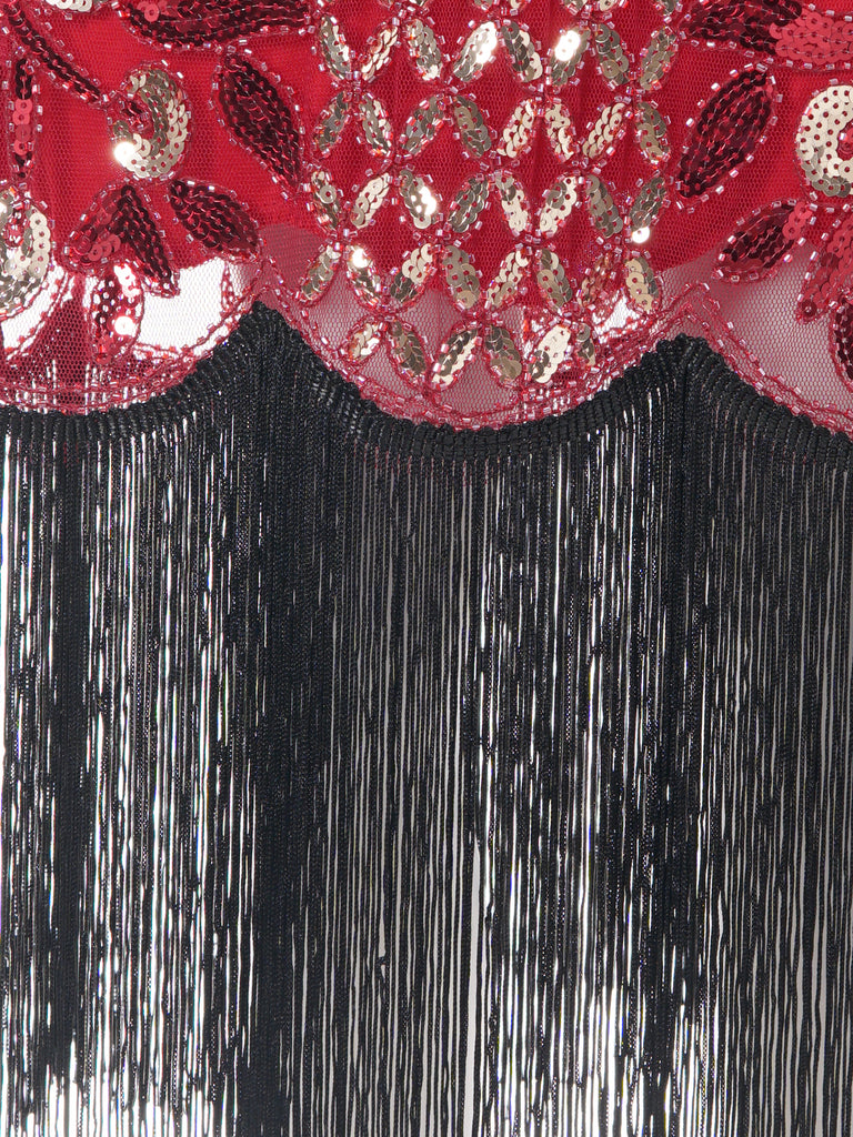 Red 1920s Floral Tassel Sequined Dress