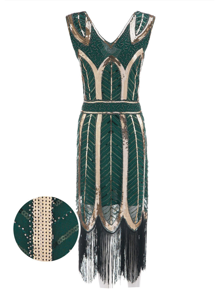 1920s Leaves Sequined Tassel Dress