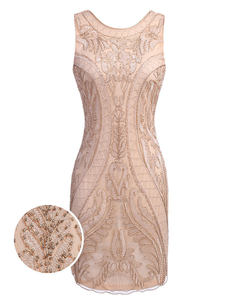 US Only Pink 1920s Beaded Embroidery Dress