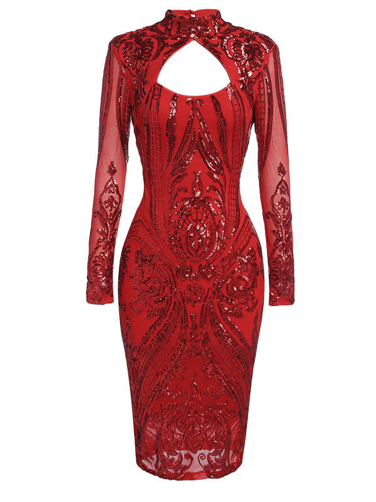 Red 1920s Sequined Keyhole Dress
