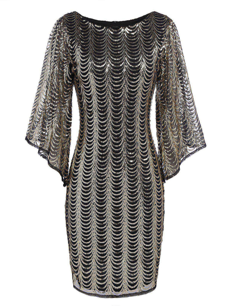 Gold 1920s Sequined Flare Sleeve Dress