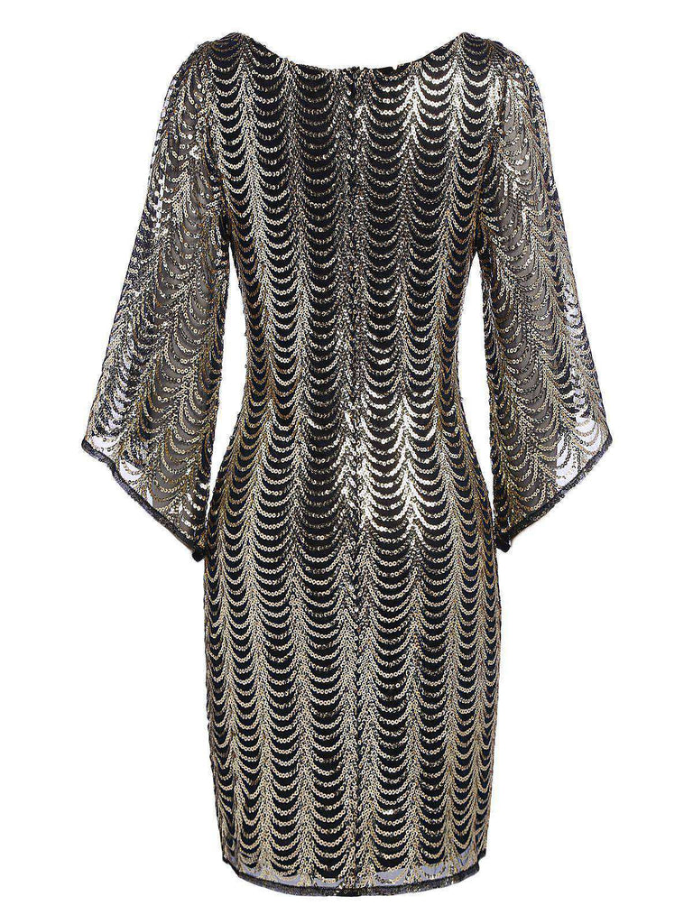 US Only Gold 1920s Sequined Flare Sleeve Dress
