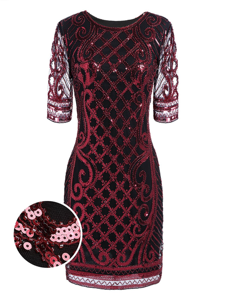 US Only Wine Red 1920s Sequined Embellished Dress