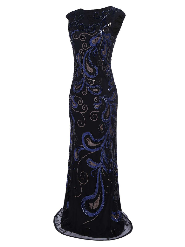 US Only Dark Blue 1920s Sequined Maxi Dress