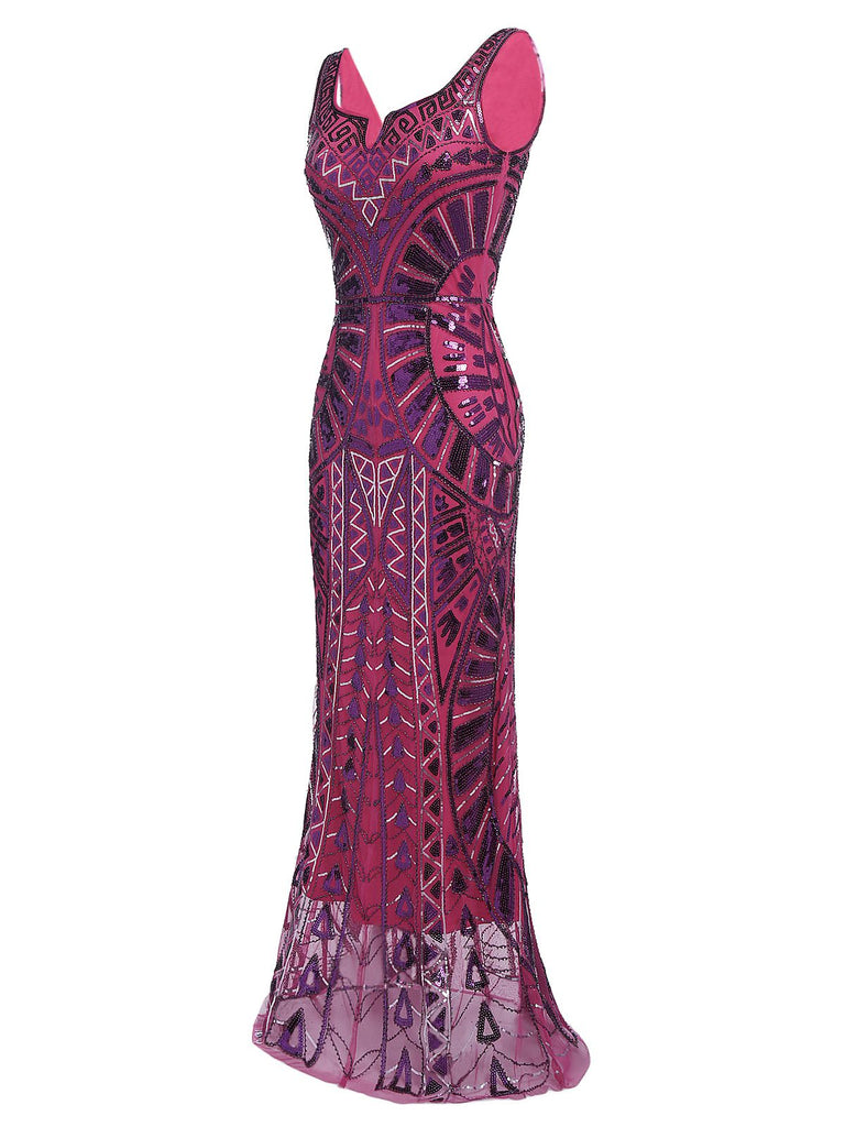 [US Warehouse] Purple 1920s Sequined Maxi Dress