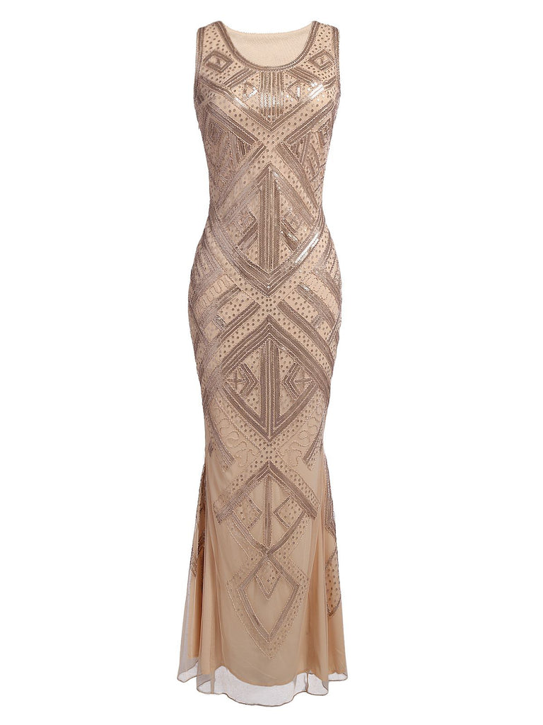 [US Warehouse] Beige 1920s Sequined Maxi Dress