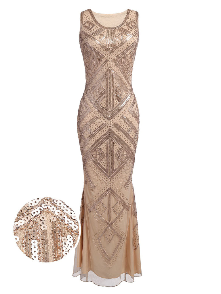 Beige 1920s Sequined Maxi Dress