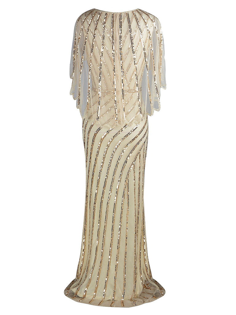 1920s Mesh Sequined Cape Maxi Dress