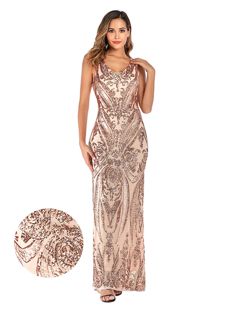 US Only Pink 1920s Sequined Embellished Maxi Dress