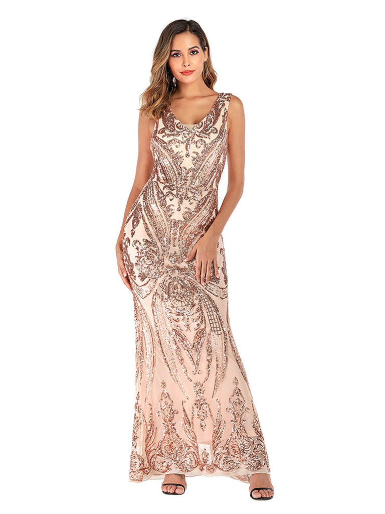 Pink 1920s Sequined Embellished Maxi Dress