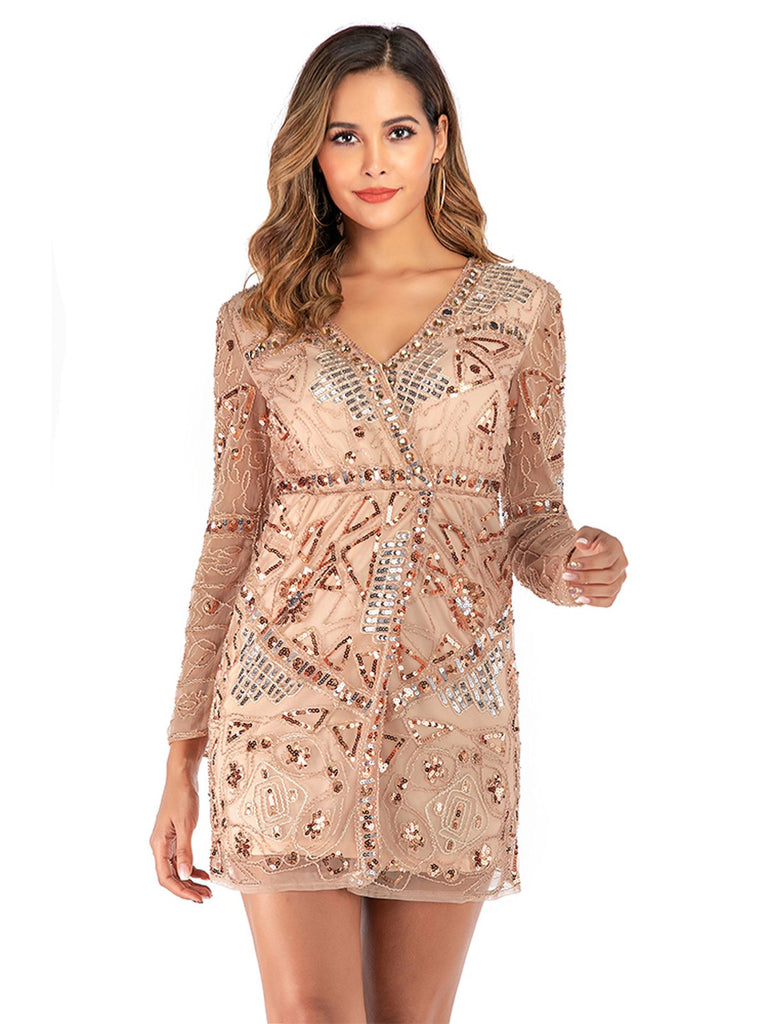 Pink 1920s Sequined Long Sleeve Dress