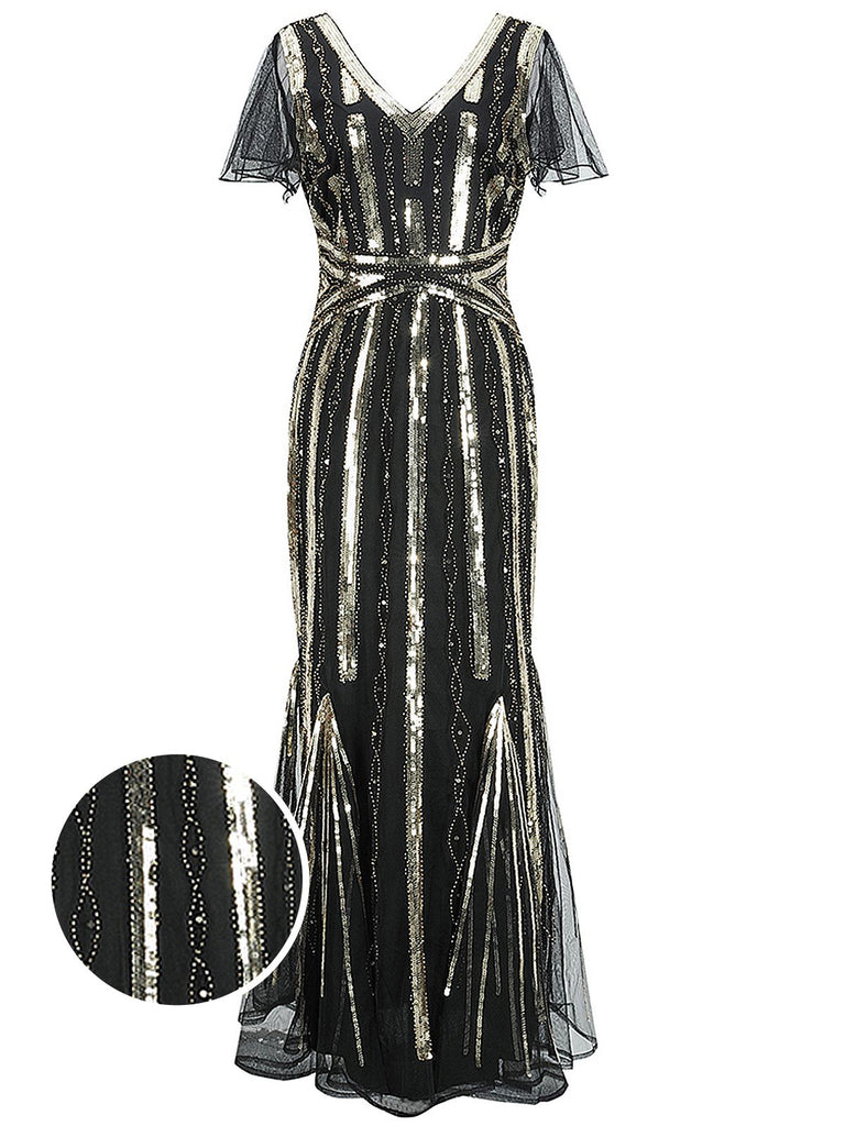 US Only 1920s Cap Sleeve Sequined Embellished Dress