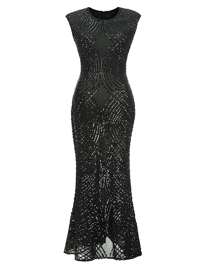 1920s Sequined Sleeveless Geometric Dress