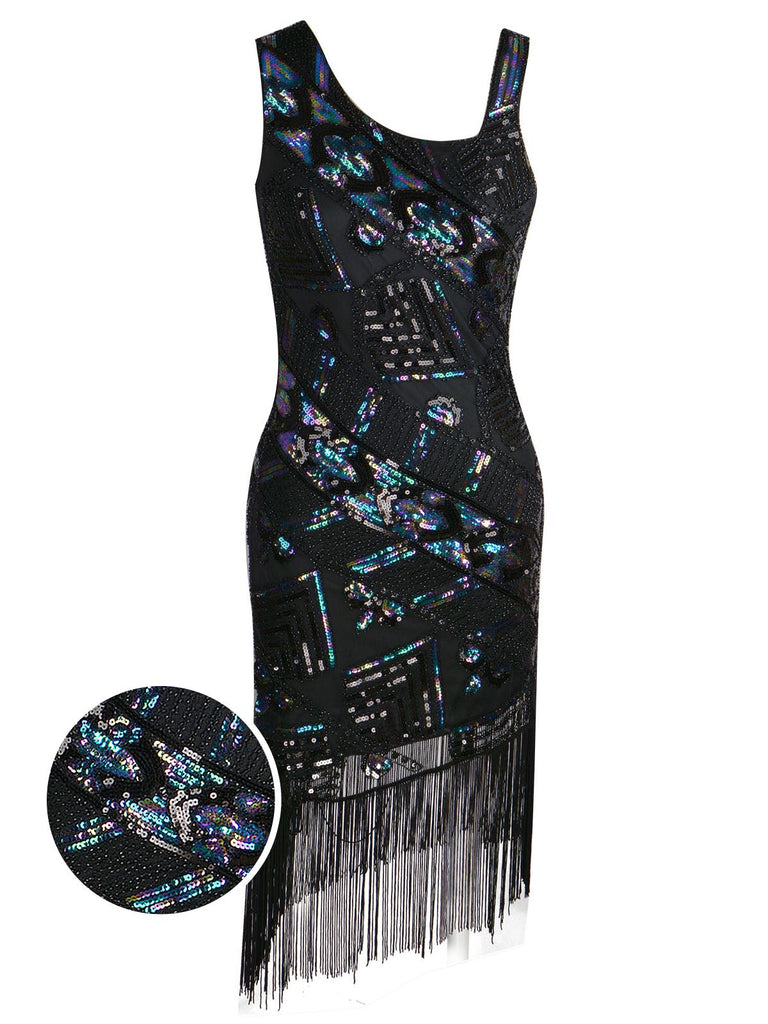 1920s Sequined Tassel  Asymmetrical Dress