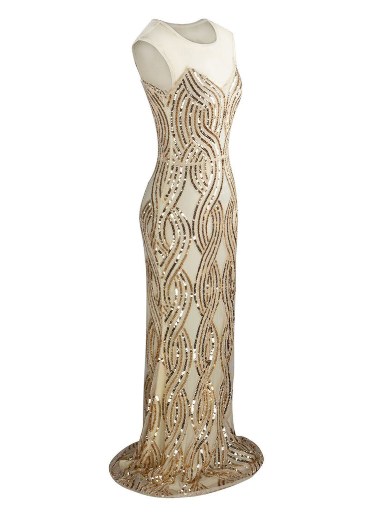 1920s Sequined Embellished Maxi Dress