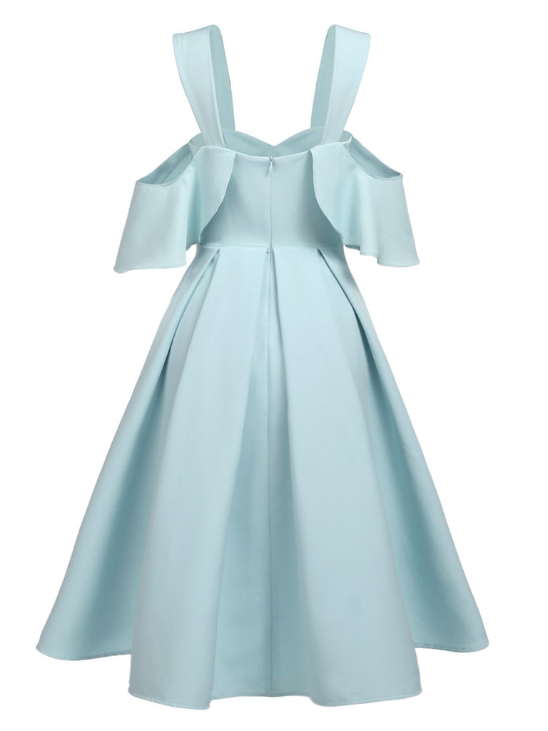 Blue 1950s Ruffle Cold Shoulder Dress