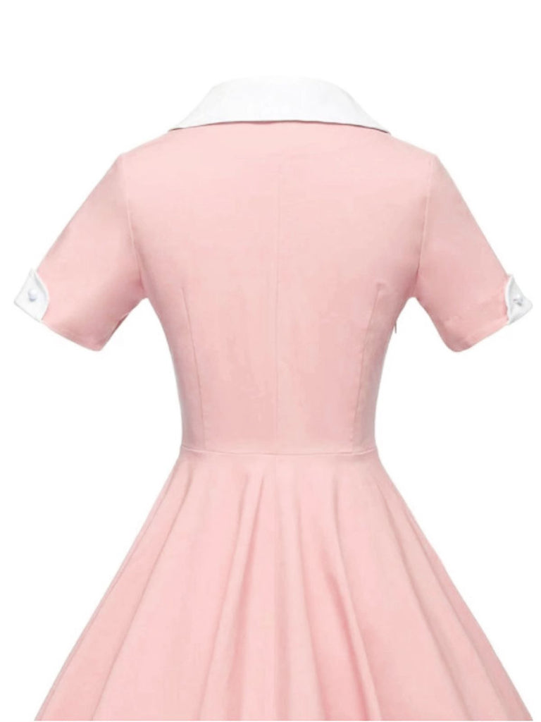 Pink 1950s Solid Button Swing Dress