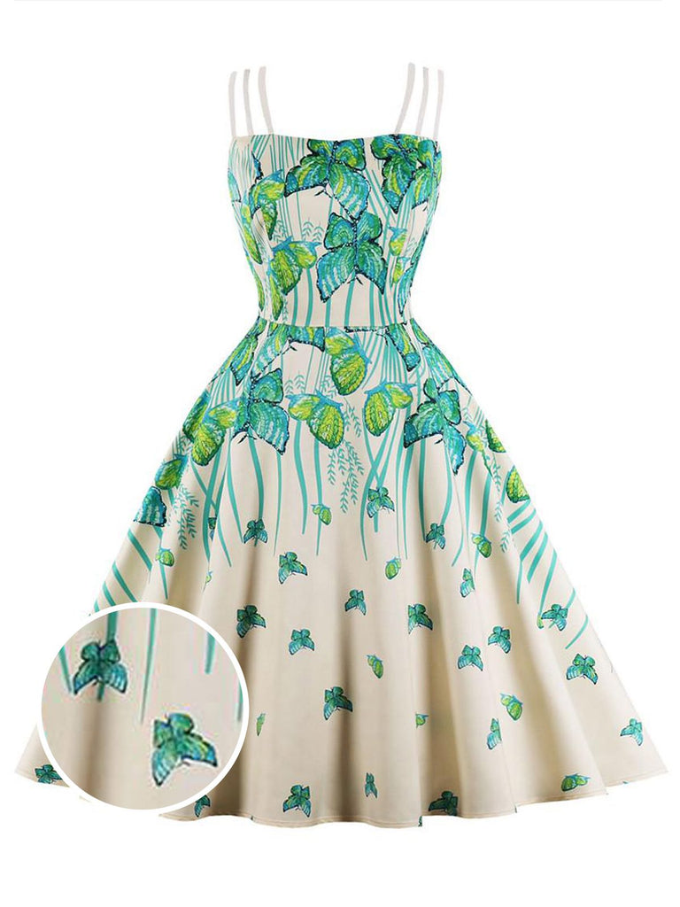 Turquoise 1950s Butterflies Strap Swing Dress