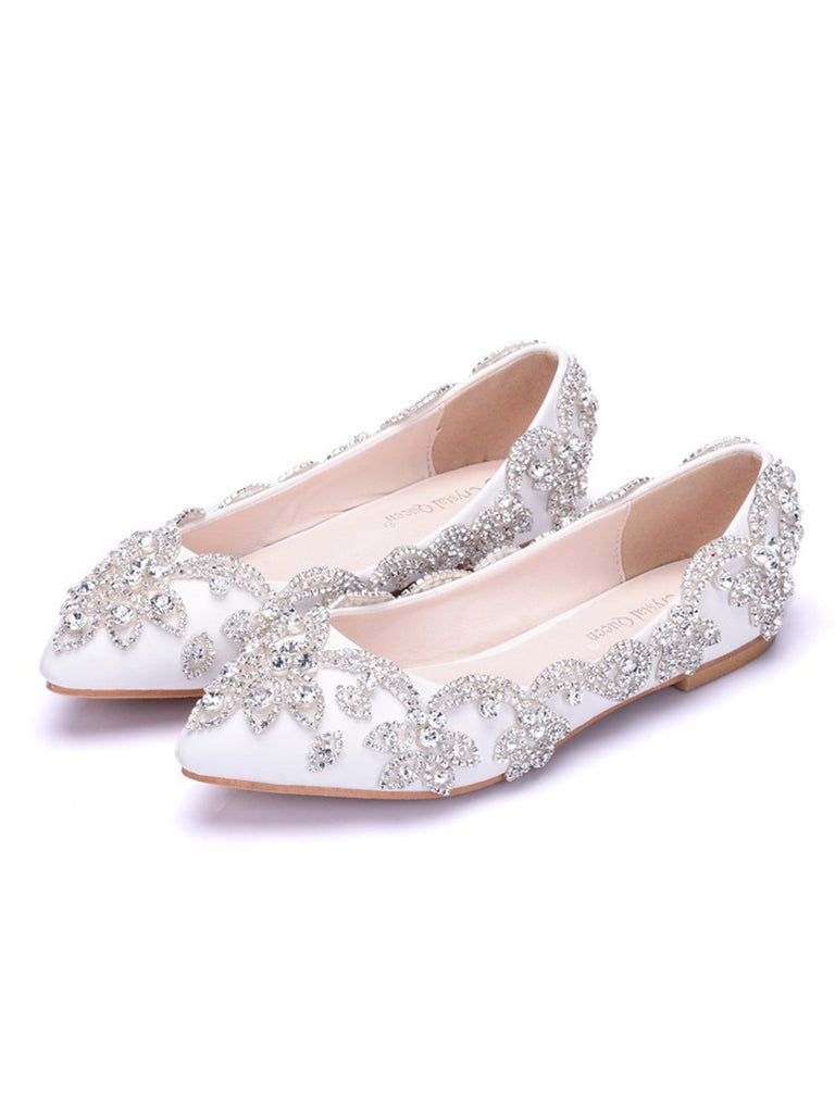 Rhinestone Floral Flat Bride Wedding Shoes