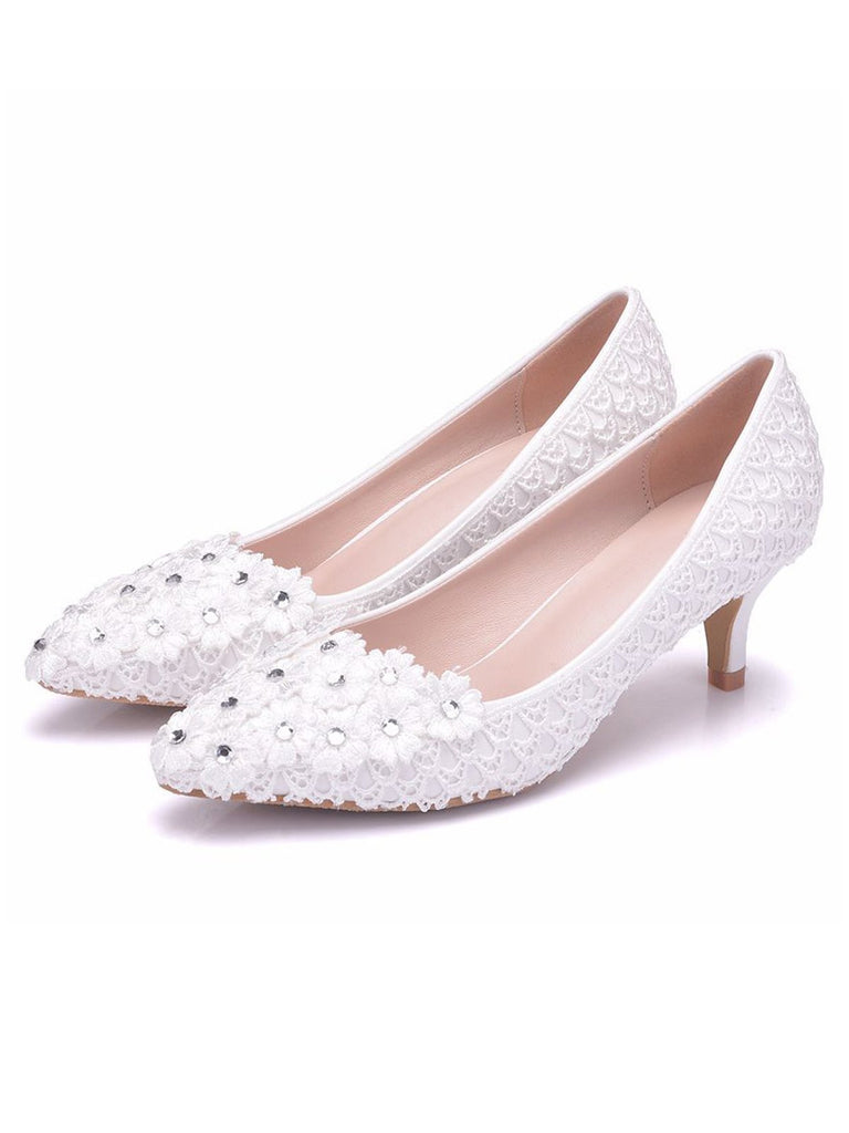Rhinestone Floral Bride Wedding Shoes