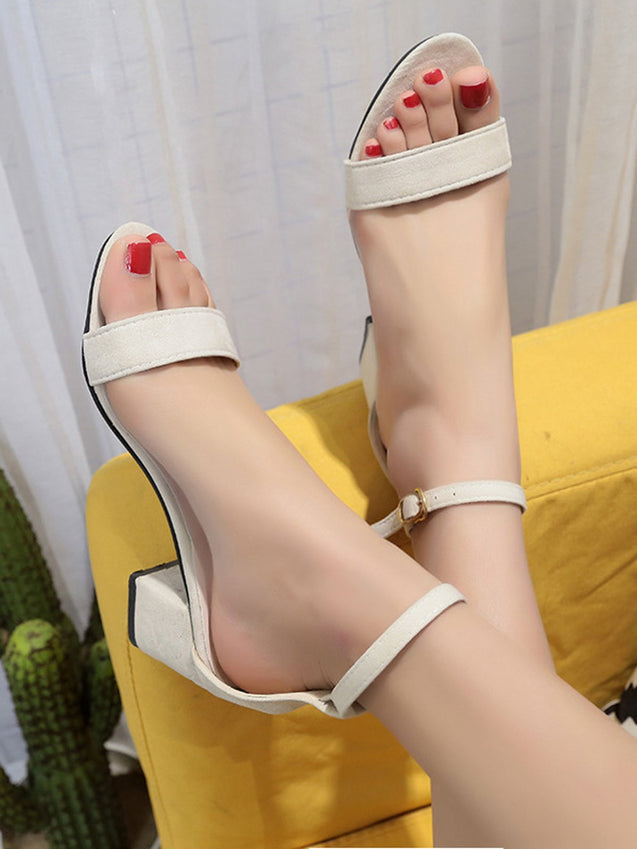 Vintage Thick Heel Open Toe Shoes